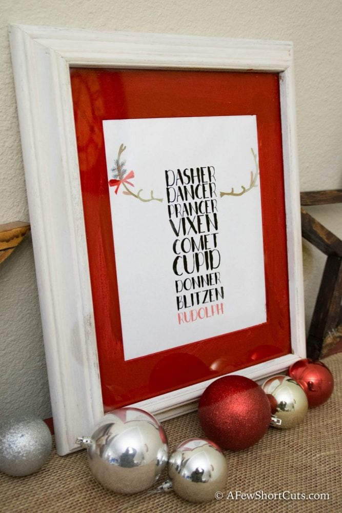 Free Reindeer Printable Wall Art & Frame Upcycle. Make your own Christmas Wall Art for practically FREE.