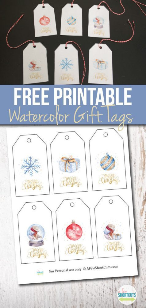 graphic about Cute Gift Tags Printable titled Free of charge Printable Watercolor Family vacation Reward Tags - A Several Shortcuts