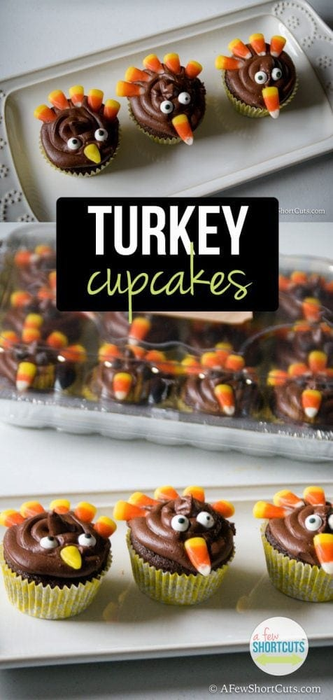 Adorable and perfect for Thanksgiving. Check out these simple to make Turkey Cupcakes! What a fun recipe!