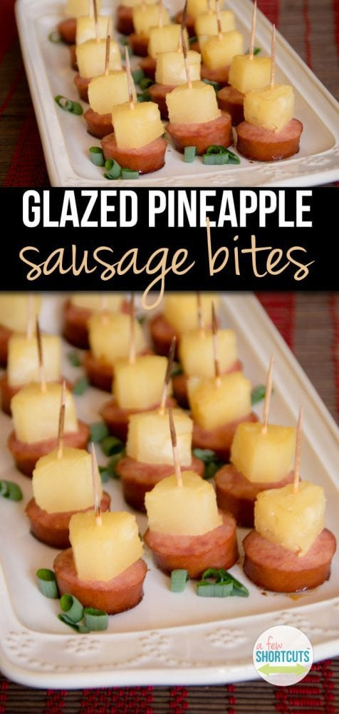 A fast a delicious appetizer that will fly off of the tray! Make this yummy Glazed Pineapple Sausage Bites recipe this holiday season.