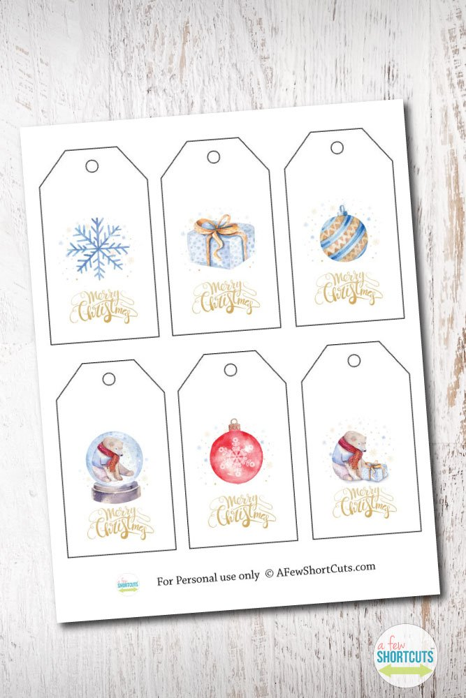 free printable watercolor holiday gift tags