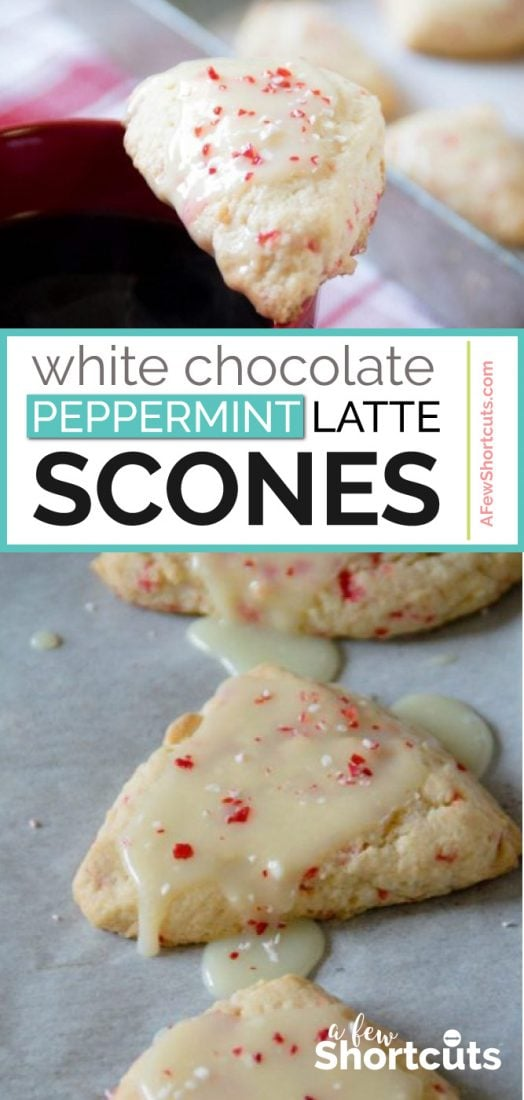 A decadent holiday treat with a cup of Dunkin Donuts Coffee! You must try this AMAZING White Chocolate Peppermint Latte Scones Recipe   @AFewShortcuts #recipe #coffee #scone #peppermint #chocolate