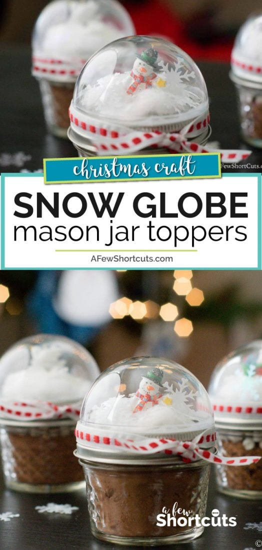 Need a cute homemade Christmas gift idea? Check out these crazy simple Snow Globe Mason Jar Toppers! A super easy DIY idea