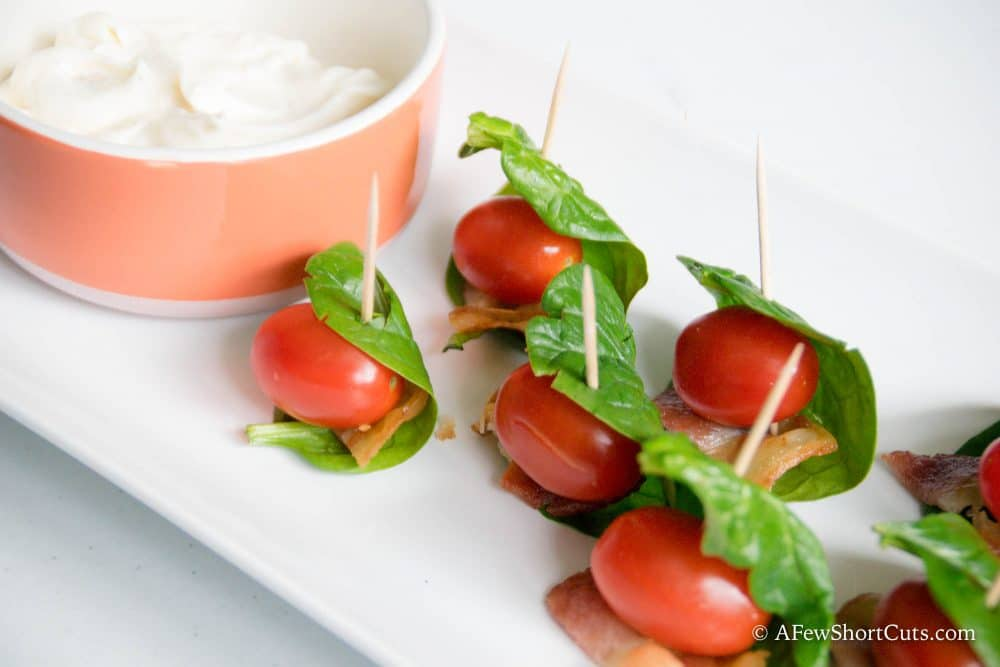 BLT Bites on tray with tangy mayo n orange bowl.