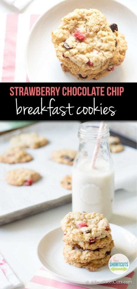 Cookies for breakfast are a thing, and should be everyday with this yummy Strawberry Chocolate Chip Breakfast Cookies recipe! These can also be made gluten free, dairy free, and egg free!