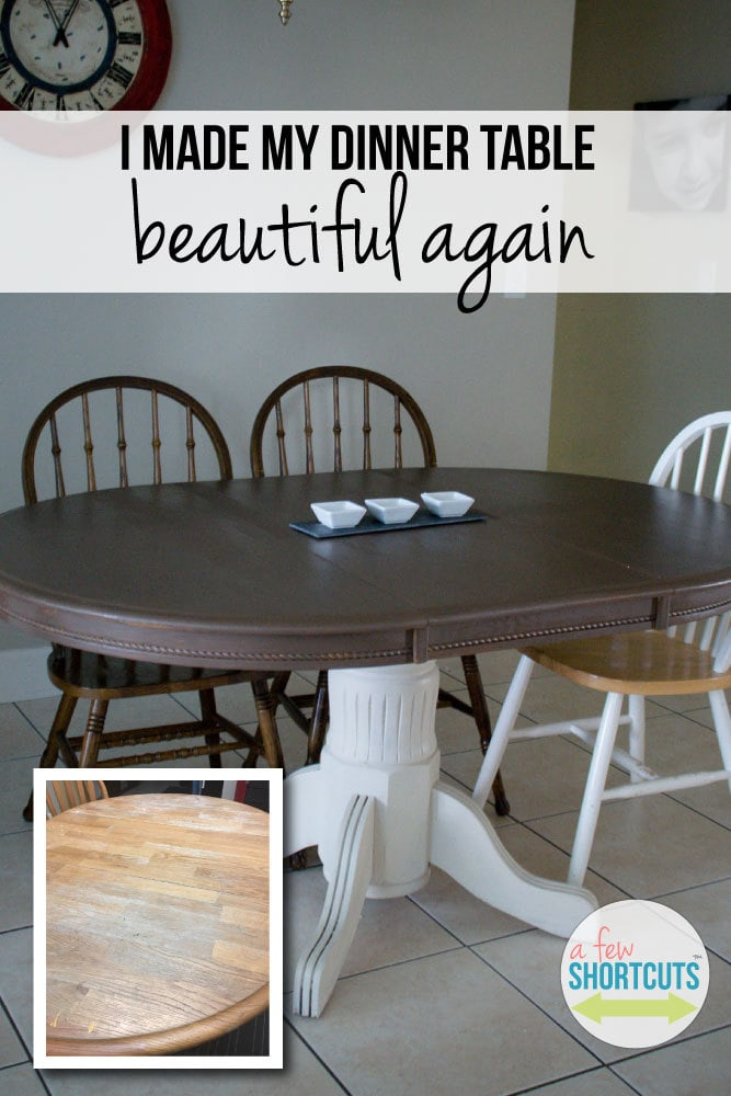 A stunning transformation of an older dinner table to a gorgeous piece of furniture with just a little paint and love. Great furniture refinishing idea!