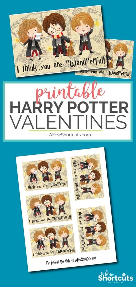 "I think you are ""wand""erful. Go now to download these Free Printable Harry Potter Valentines! Great for classrooms!"