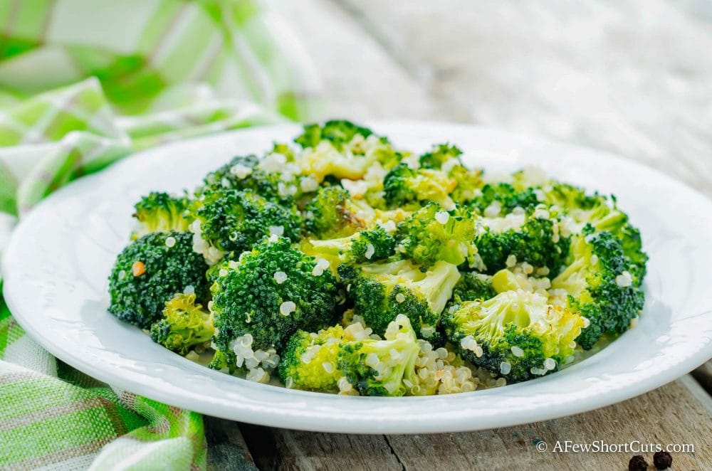 Healthy, quick, flavorful, and ready in just minutes! This Roasted Broccoli Quinoa Salad Recipe is all of those things and more!