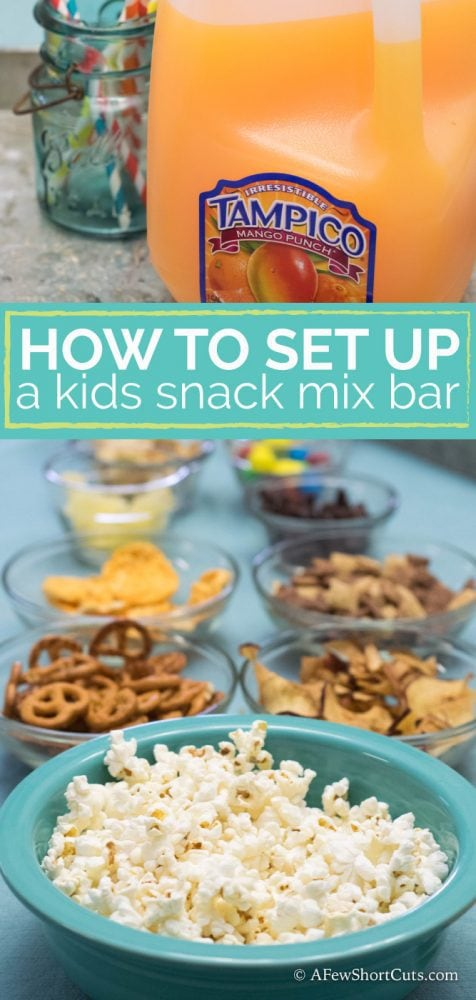 How to Set Up a Kids Snack Mix Bar! This is so much fun for movie nights and parties!