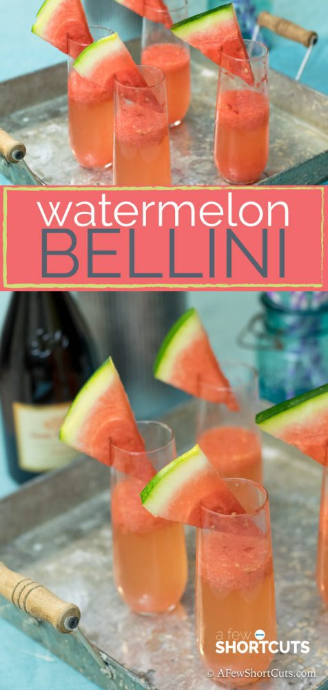 This could be the perfect Spring/Summer Brunch Cocktail. This simple Watermelon Bellini Recipe is sure to please a crowd!