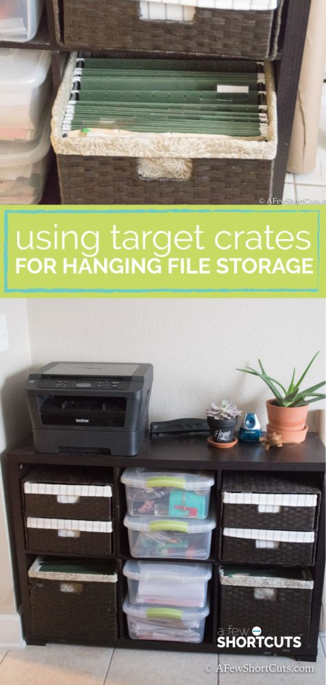 Need extra file storage in your office but don't have room for a filing cabinet? Try Using this simple hack by using Target milk crates for File Storage!