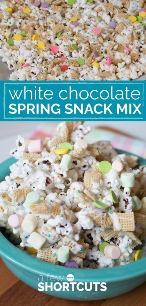 Get everyone smiling with this yummy snack! This simple White Chocolate Spring Snack Mix Recipe is great for gift giving or just for munching on.