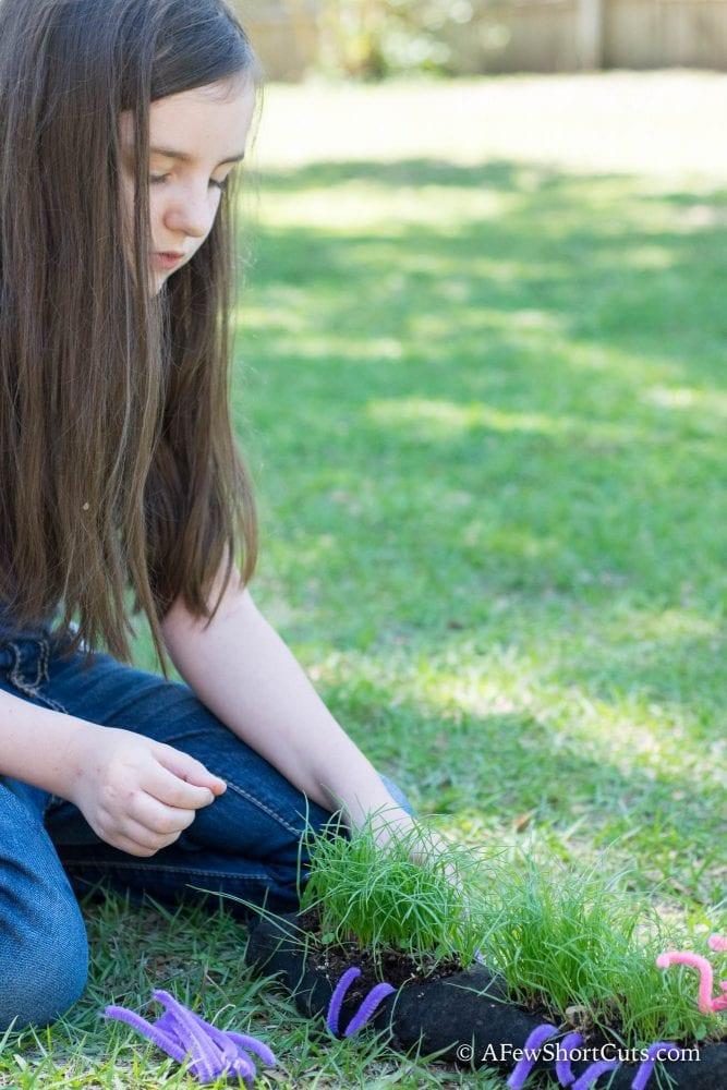 girl putting together grass caterpillar