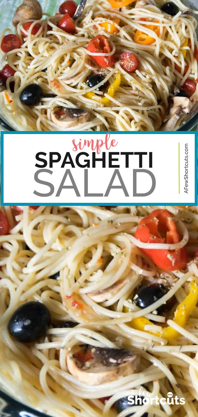 I love making this Simple Spaghetti Salad Recipe in the Spring/Summer. This is light and healthy as well as easy to make! | @AFewShortcuts #lunch #sidedish #recipes #easy