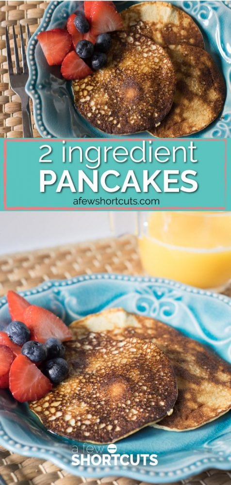 It's like magic! These healthy 2 Ingredient Pancakes are gluten free, dairy free, and the perfect recipe for 21 Day Fix, Whole 30 and more!
