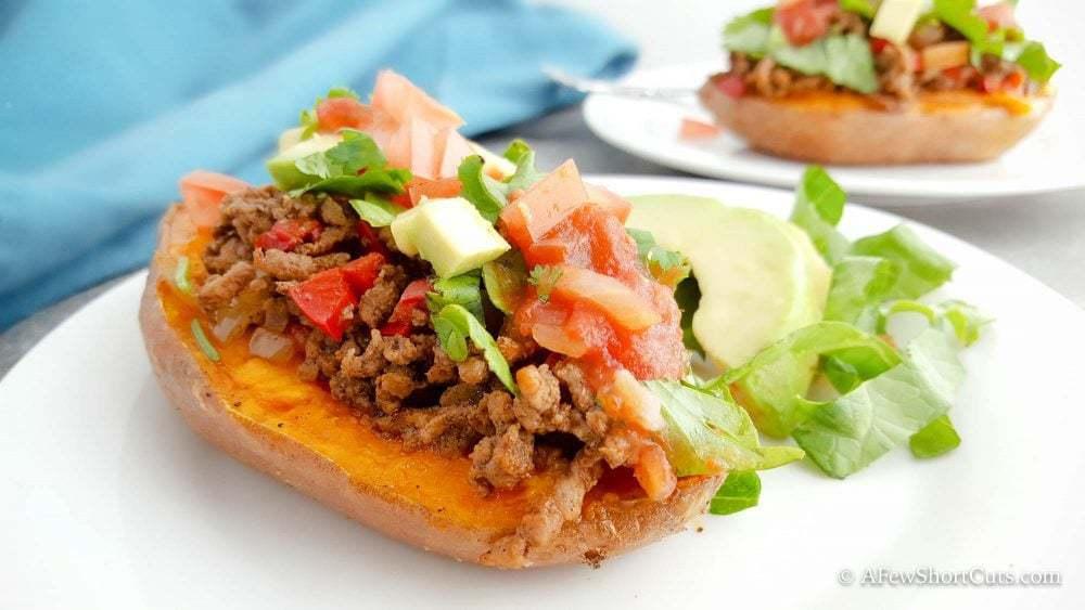 Taco Stuffed Sweet Potatoes - A Few Shortcuts
