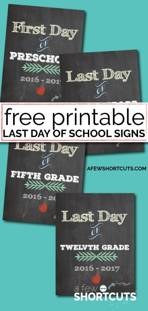 Don't forget these for those last day of school pictures! Free Printable Last Day of School Signs for the 2016 -2017 School Year.