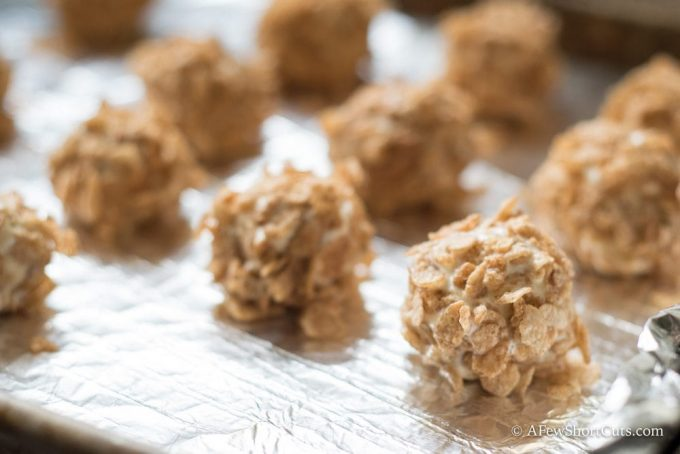 It doesn't get much simpler than this Cinnamon Pebbles Fried Ice Cream Bites Recipe! A perfect bite-sized treat and they are gluten free!