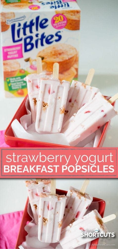 Need a fun breakfast on the go?! This simple Strawberry Yogurt Breakfast Popsicles Recipe is perfect for the kids this Summer!