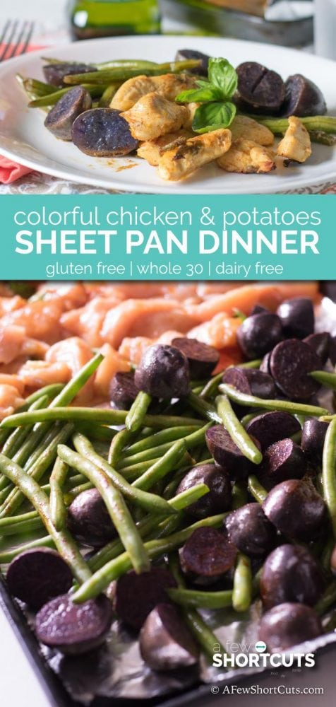 Dinner on the table in under and hour! Try this Colorful Chicken & Potatoes sheet Pan Dinner!