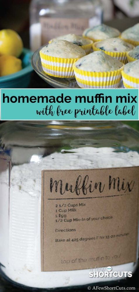 This is perfect for when the muffin mood strikes! Try this Homemade Muffin Mix Recipe & get a Free Printable Label. Makes savory or sweet muffins!