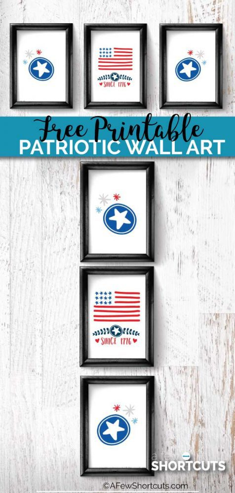 Change up your holiday decor in the blink of an eye and for FREE with this Free Printable Patriotic Wall Art!