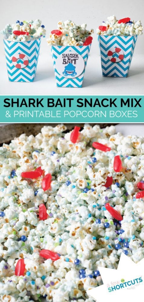 A perfect snack to munch on while watching Shark Week. Try this easy Shark Bait Snack MIx & get the free printable popcorn boxes to match!