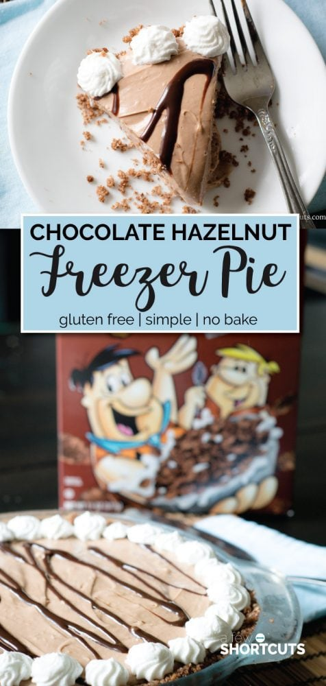 Decadent and simple! This is a must try Chocolate Hazelnut Freezer Pie with Cocoa Pebbles Crust Recipe! Only a few minutes to make and gluten free!