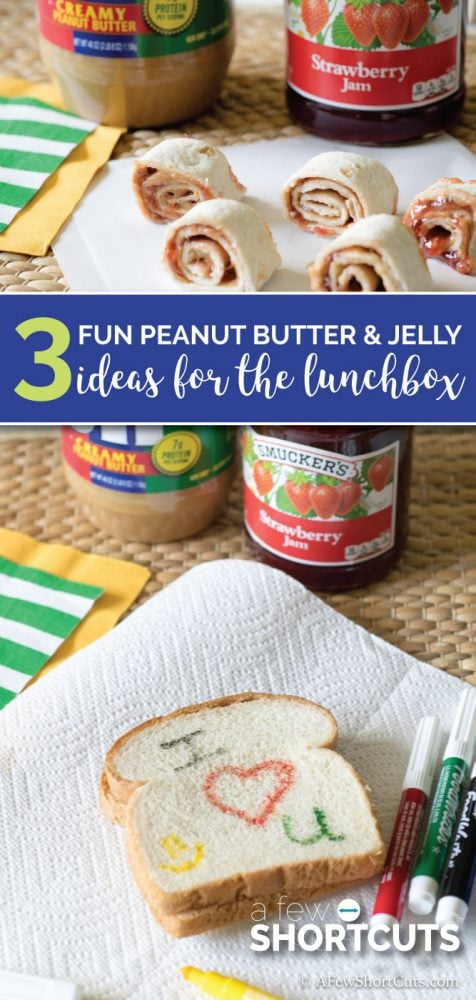 Looking for some ideas for the lunch box to spice up those Peanut Butter and Jelly Sandwiches? Check out these 3 FUN PB&J Ideas!