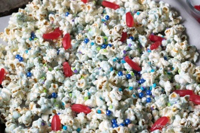 Shark Bait Popcorn Snack Mix on tray
