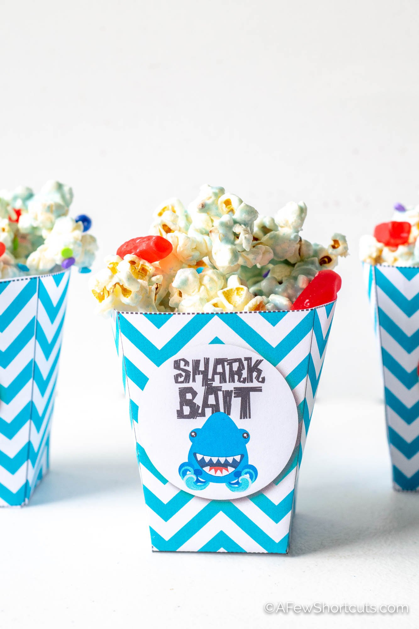photo relating to Printable Popcorn Boxes titled Shark Bait Snack Blend and Printable Popcorn Box - A Couple Shortcuts