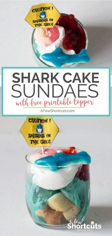 Such a fun treat to make for the kids for Shark Week or an Ocean Themed Party! This Sharkcake Sundae Recipe is delicious and there are free Printable toppers too!