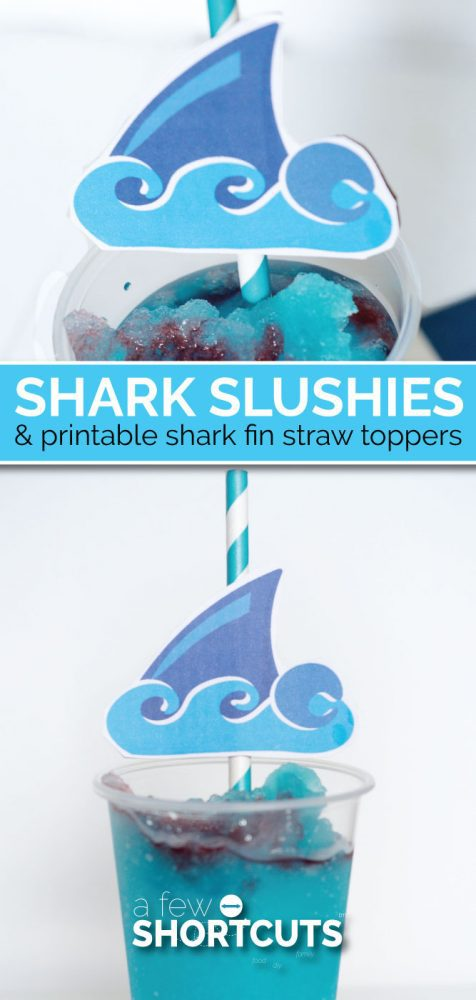 Shark Week Fun! Make these yummy Shark Slushies with this simple recipe and get the free Printable shark fin straw toppers too!