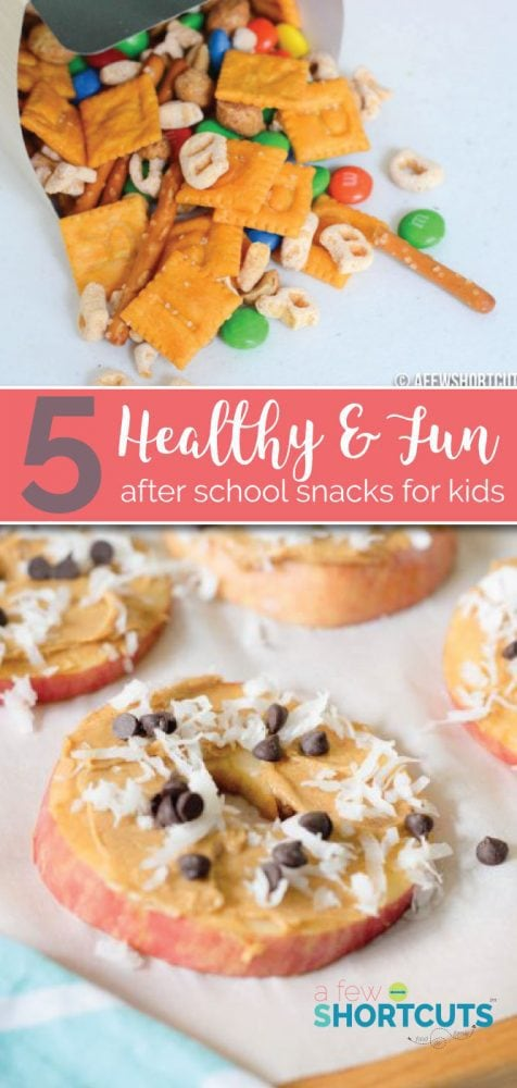 5 Fun & Healthy After School Snacks for kids that will keep them happy until dinner time. These simple options are a winner any day of the week!
