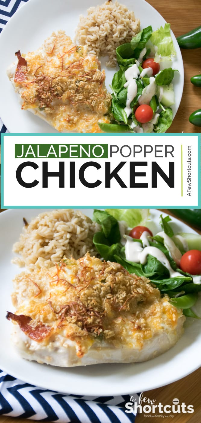 Chicken for dinner doesn't need to be boring! This Jalapeno Popper Chicken Recipe is easy to make and so tasty the whole family will love it!