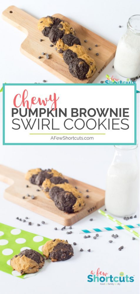 All the fall feels when you bake up some of these amazing Chewy Pumpkin Brownie Swirl Cookies. Pumpkin and Chocolate come together in 1 tasty cookie!