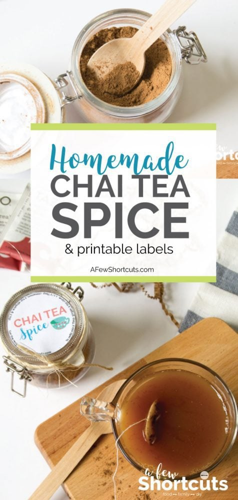 Spice up your tea with this Homemade Chai Tea Spice Mix Recipe and free Printable Labels for your jar. Great for a homemade holiday gift!