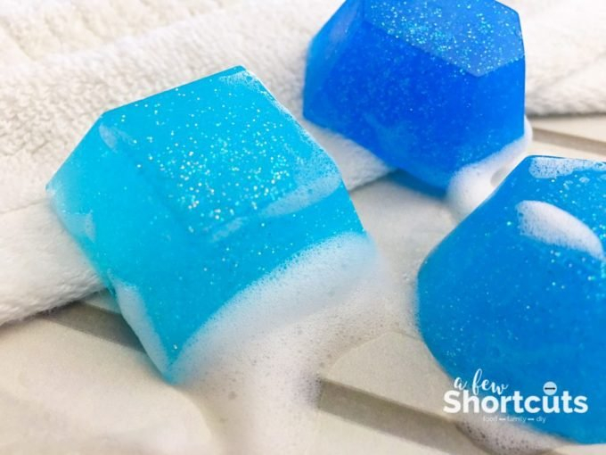 This Blue Glitter Gem Soap is a fun and easy kids DIY that they will love to use and make! These are great party favors or holiday gifts too!!