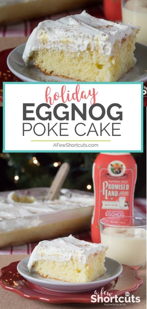 The holidays wouldn't be complete without this Eggnog Poke Cake Recipe! This creamy, decadent, spicy cake will disappear faster than Santa up the chimney!
