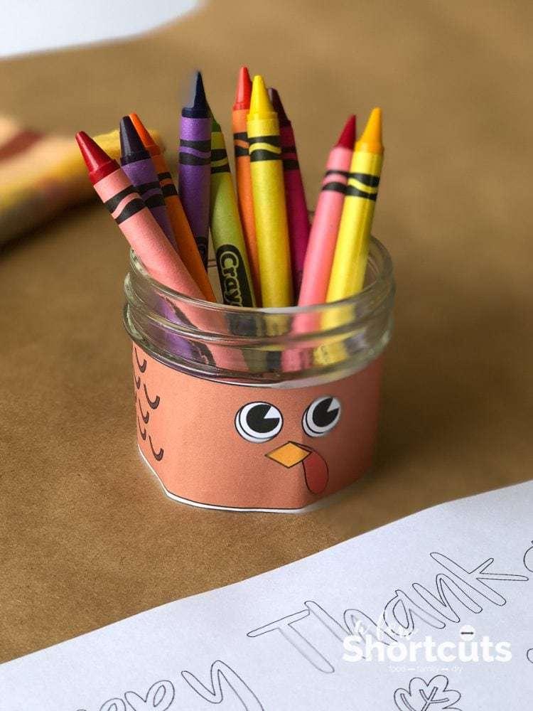 DIY Thanksgiving Turkey Crayon Holder - Kids Table Fun - A Few Shortcuts