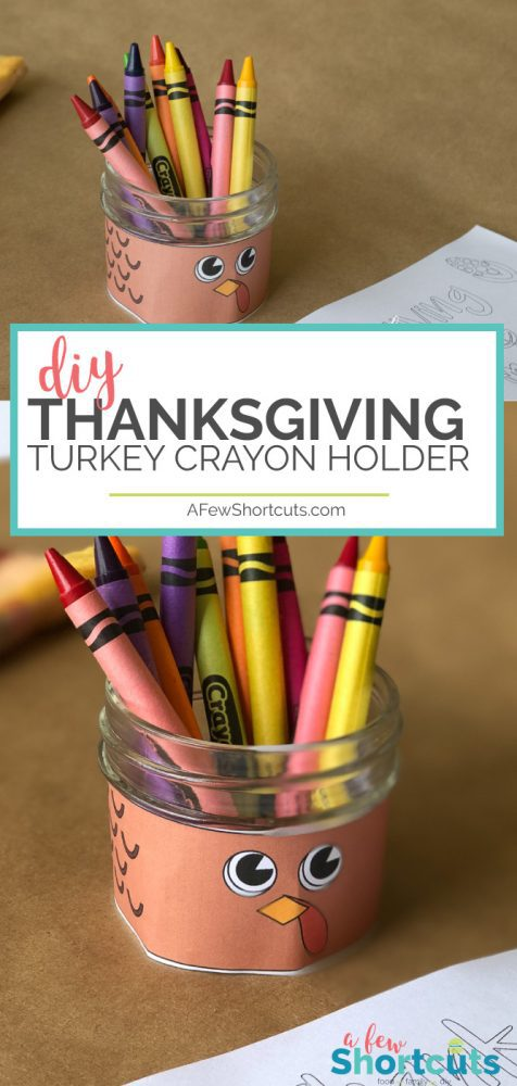 Make the kids table even more fun! Use the free printable to turn a mason jar into this adorable DIY Thanksgiving Turkey Crayon Holder!