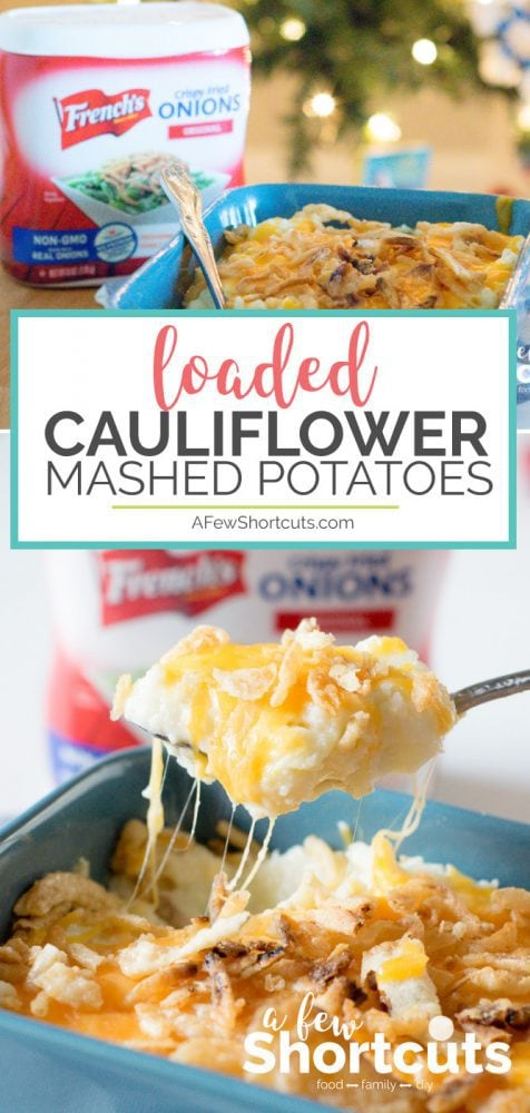 Low Carb and so full of flavor! This fast and easy Loaded Cauliflower Mashed Potatoes Recipe will have them begging for more!