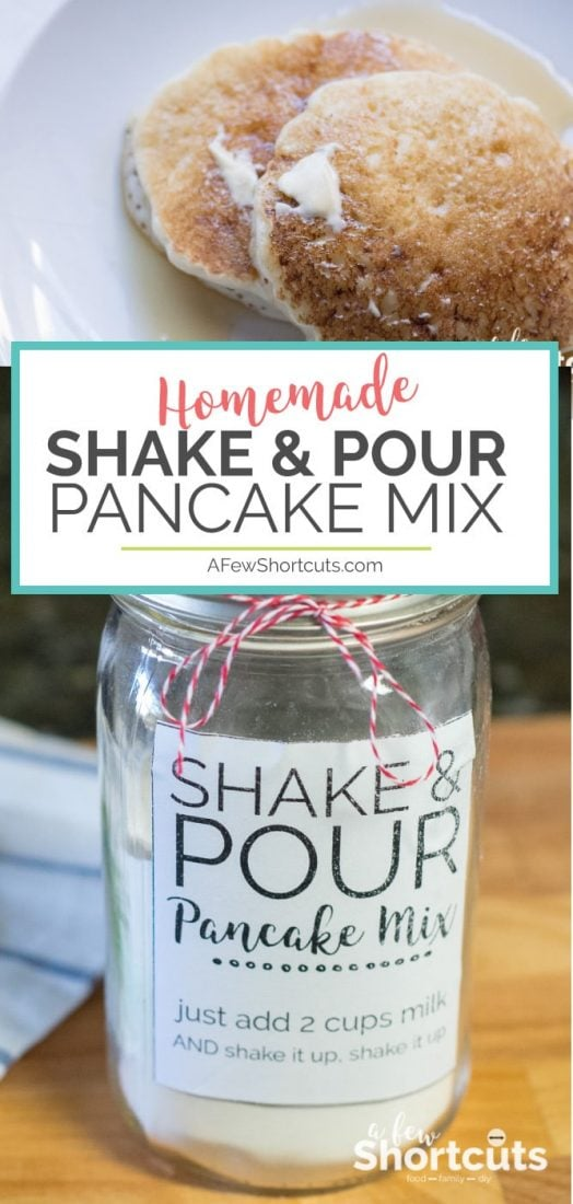 This makes pancakes so easy! You can't beat this Homemade Shake and Pour Pancake Mix Recipe with free Printable Jar labels! Can be made gluten free & vegan too! #printable #mixes #glutenfree #recipes