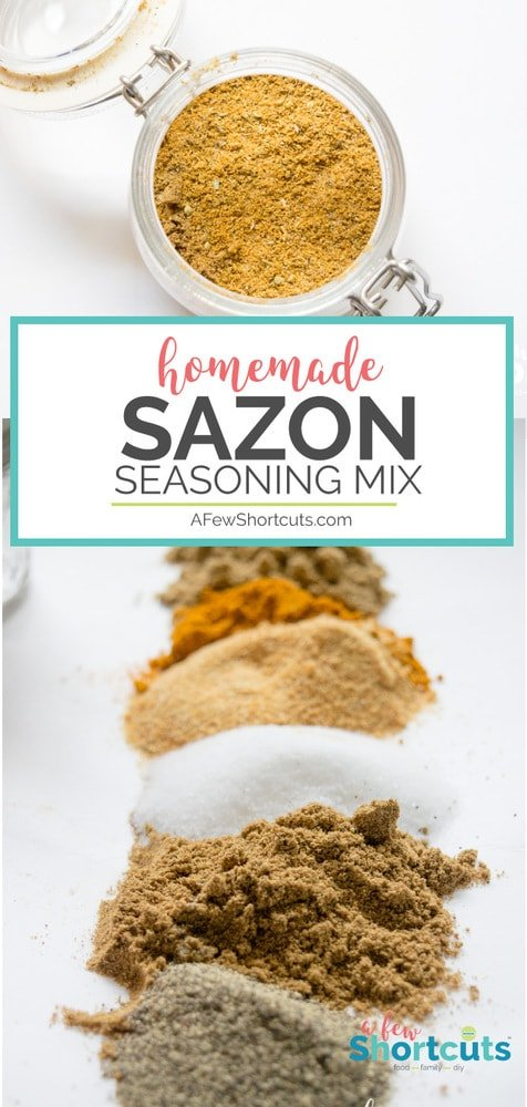 Skip the packets and make your own Homemade Sazon Seasoning Mix with this simple recipe. Just blend your spices and you are good to go! No MSG too!