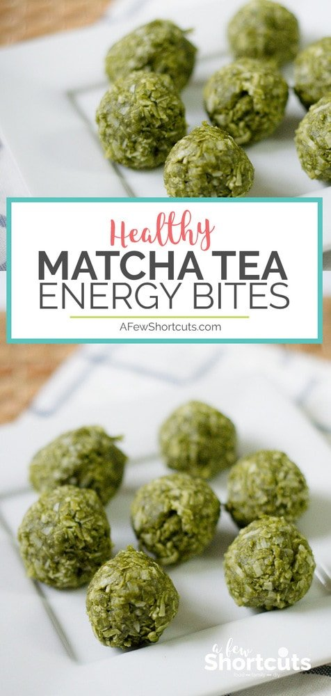 An easy to make healthy pick me up snack! Try this simple Matcha Tea Energy Bites Recipe for a grab and go treat to give you an afternoon pick me up.