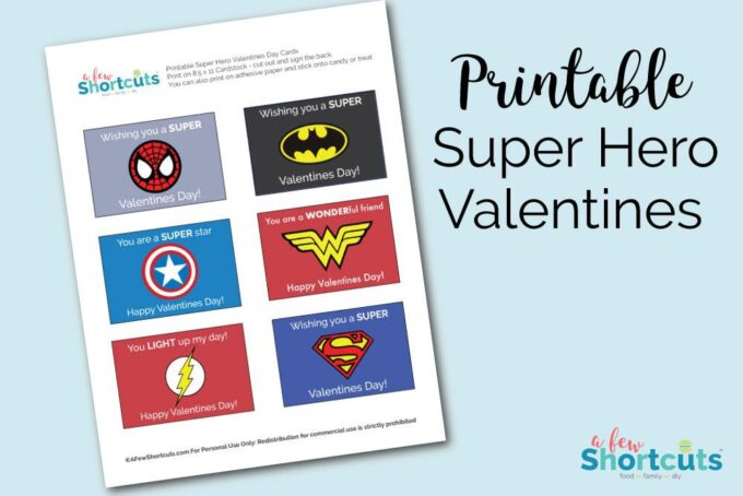 picture regarding Super Hero Printable known as Totally free Printable Tremendous Hero Valentines Playing cards - A Couple Shortcuts