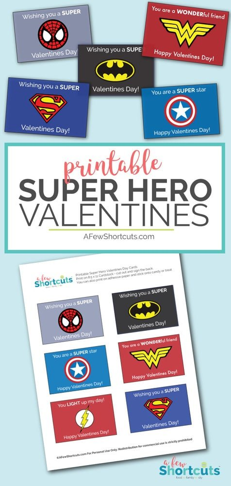 photo regarding Printable Superhero identified as No cost Printable Tremendous Hero Valentines Playing cards - A Couple Shortcuts
