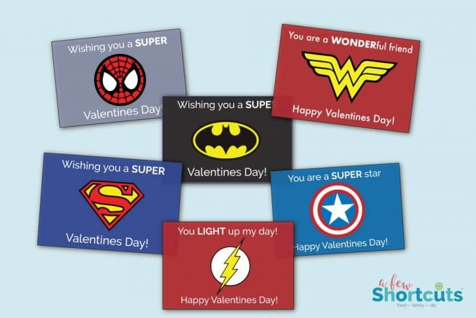 Don't buy those store-bought Valentines Day Cards for your kids. Print your own with these free Printable Super Hero Valentines Cards this year!