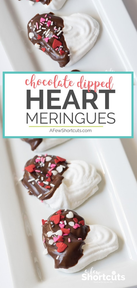 These light treats couldn't be more perfect for Valentines Day or to show your love. Make this easy Chocolate Dipped Heart Meringues Recipe