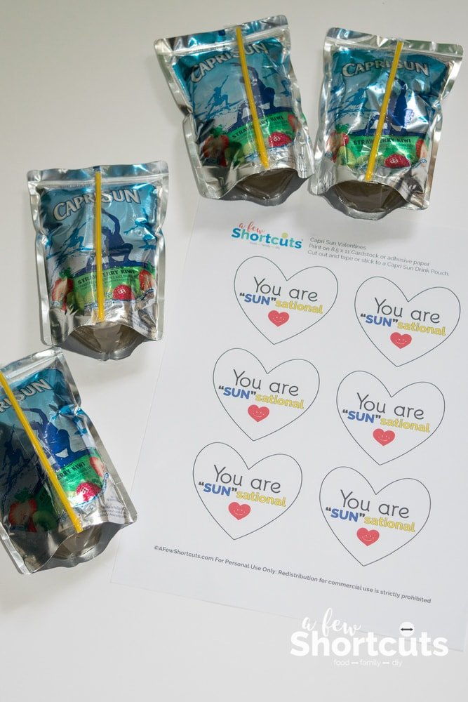 Valentines don't have to be complicated! Print this Capri Sun Valentines Printable and stick it on their favorite drink for a super cute idea!